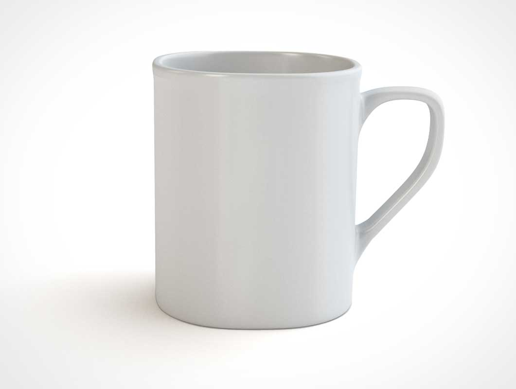 White Ceramic Coffee Mug PSD Mockup