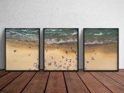 3 Framed Poster Floor Gallery PSD Mockup