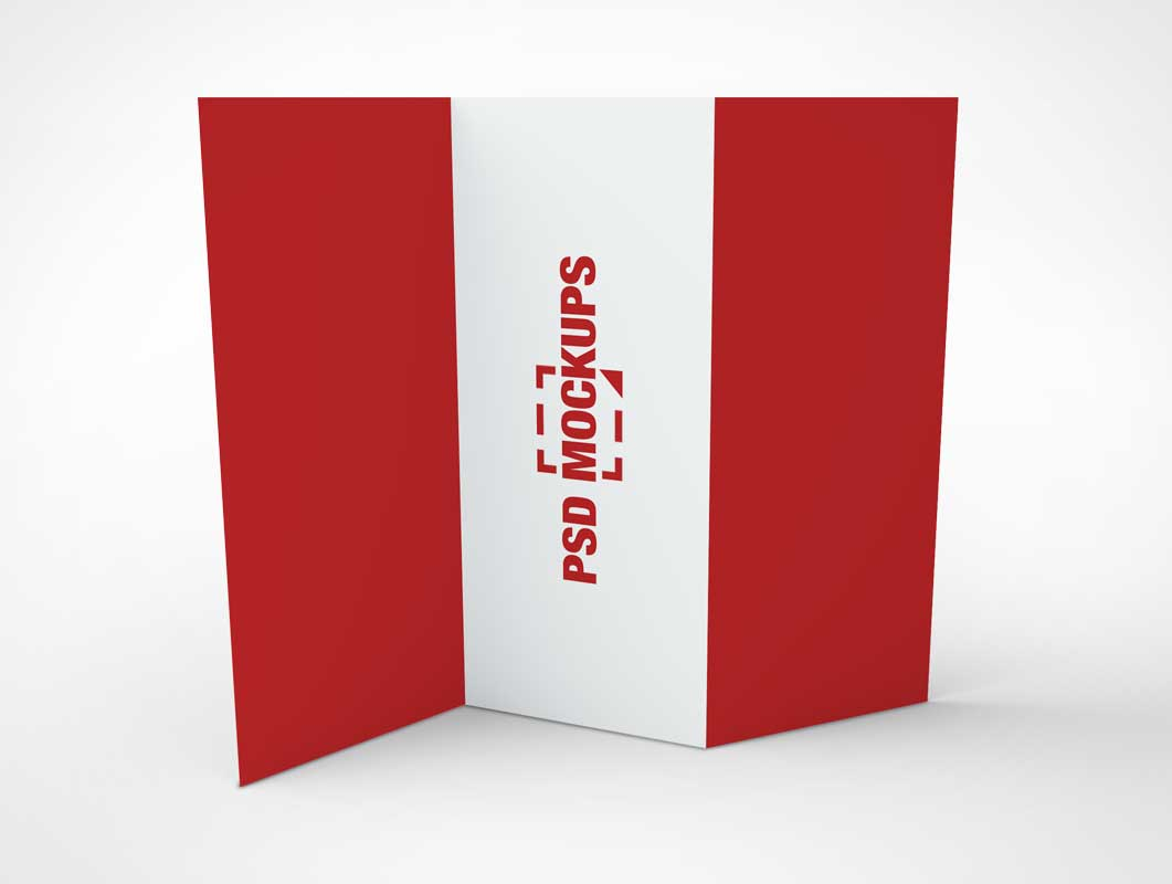 3 Panel Z-Fold Standing Brochure PSD Mockup