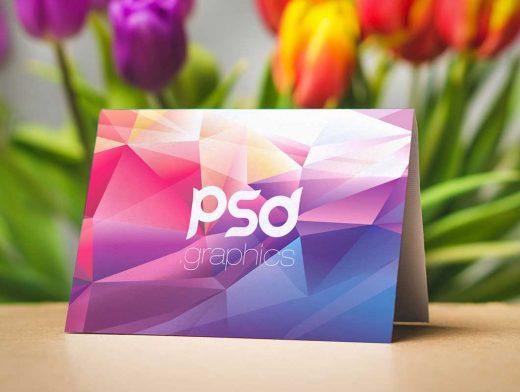 A-Frame Landscape Greeting Card Front & Inside Panel PSD Mockup