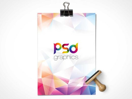 A4 Sheet, Binder Clip & Rubber Stamp PSD Mockup