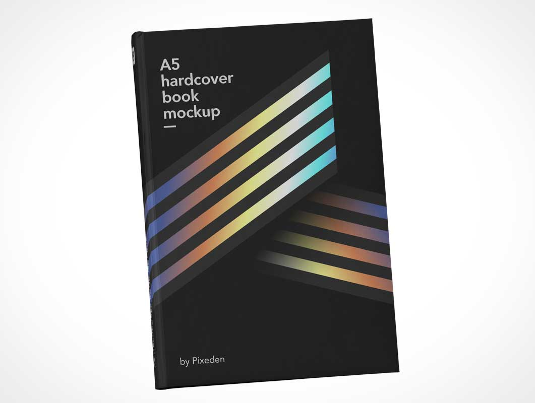 A5 Hardcover Book Front Cover & Spine PSD Mockup