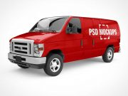 Branded Delivery Van Front, Back & Side PSD Mockup