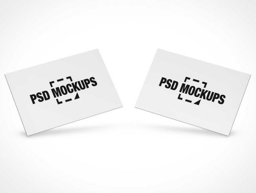 Business Card Pair Side By Side PSD Mockup