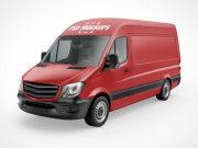 Cargo Delivery Van Front, Back, Top & Side PSD Mockup