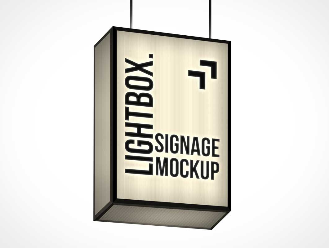 Ceiling Mounted Backlit Lightbox Signage PSD Mockup