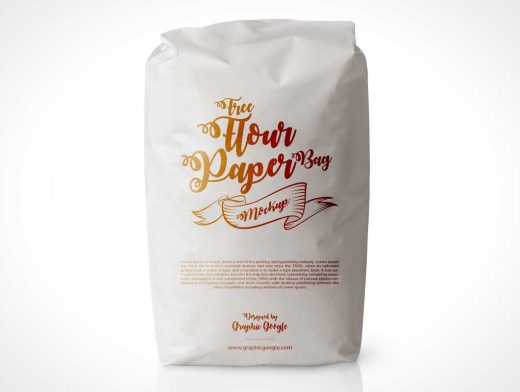 Closed Flour Bag Front PSD Mockup