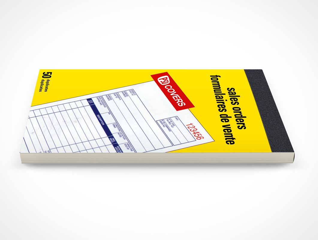 Closed Receipts Notebook Sideview PSD Mockup