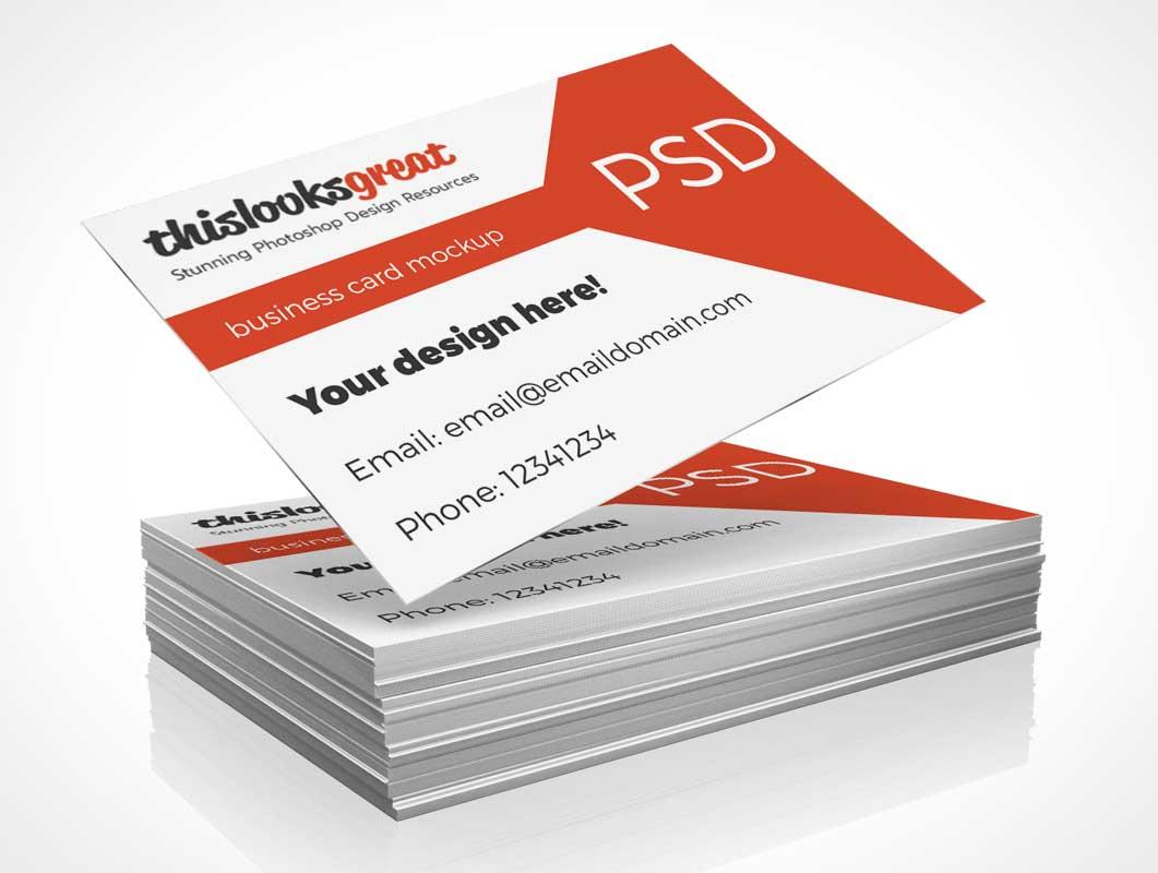 Company Business Card Stack PSD Mockup