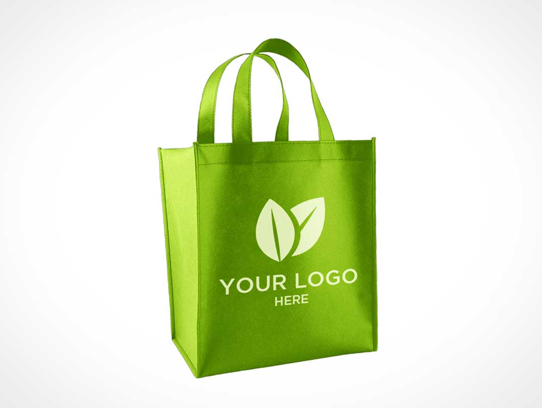 Convenience Store Stitched Canvas Grocery Bag Front PSD Mockup