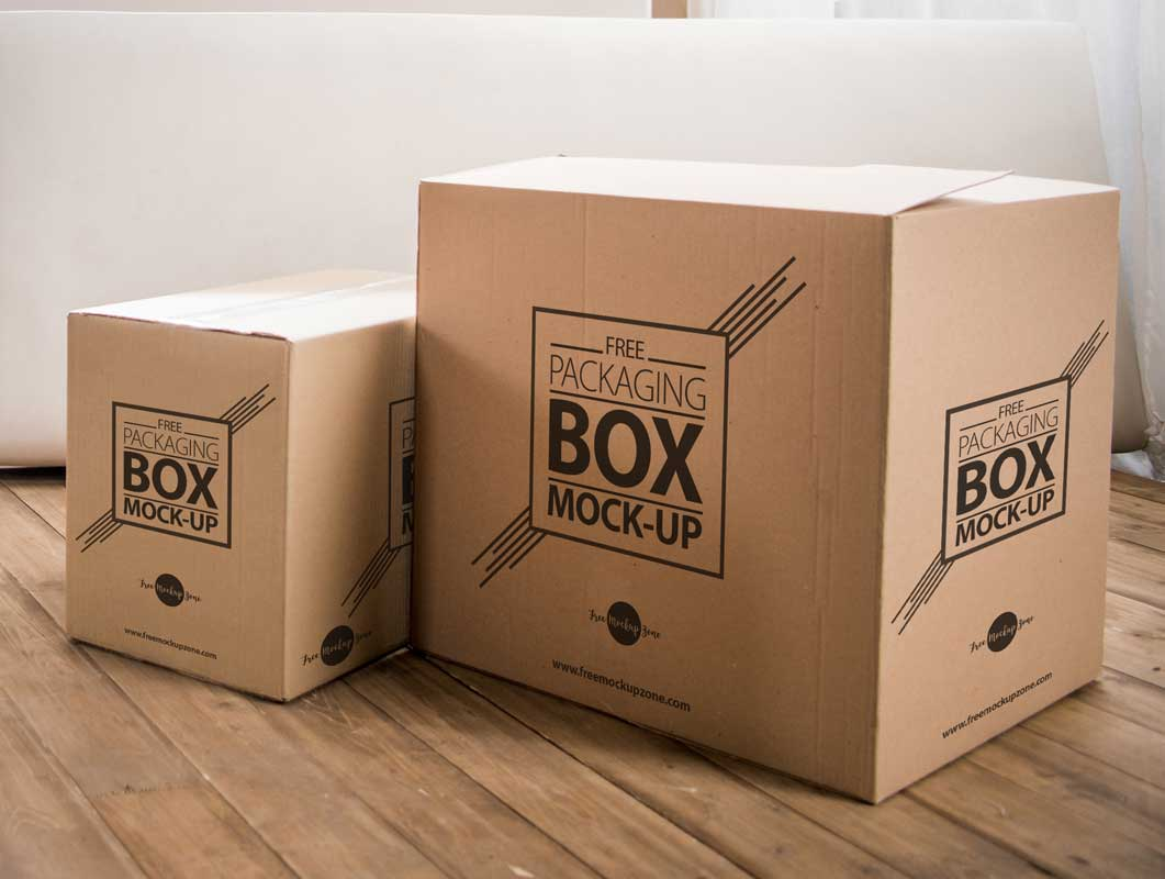 Corrugated Cardboard Shipping Box Packaging PSD Mockup