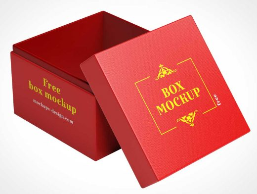 Doubled Lined Gift Box Interior & Closed Views PSD Mockup