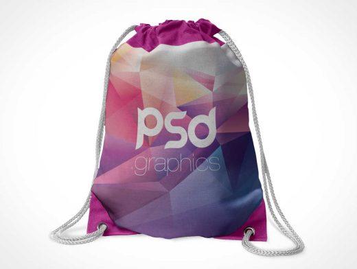 Drawstring Tote Bag Front & Grommets PSD Mockup