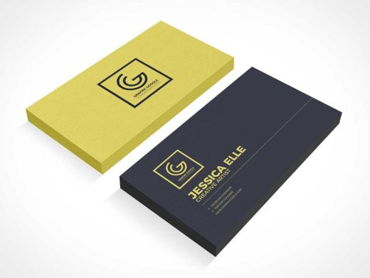 Dual Corporate Business Card Stack Front & Back PSD Mockup