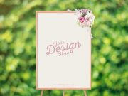 Event Poster Display Stand & Flowers PSD Mockup