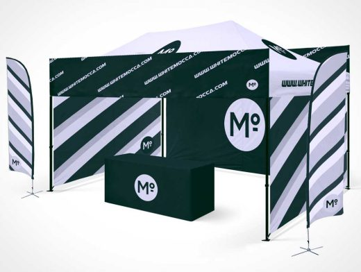 Folding Trade Show Studio Booth Tent & Table PSD Mockup