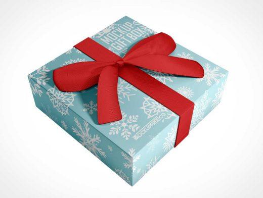 Gift Box & Large Red Bow PSD Mockup