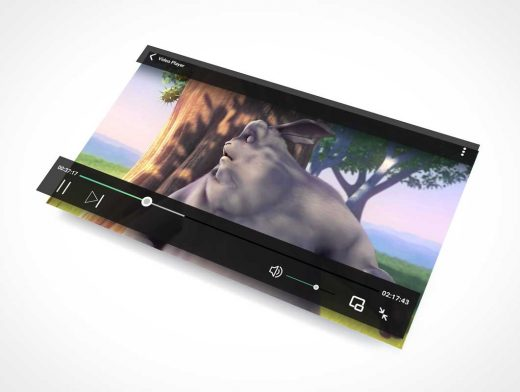 HD Streaming Video Player & Playback Controls PSD Mockup