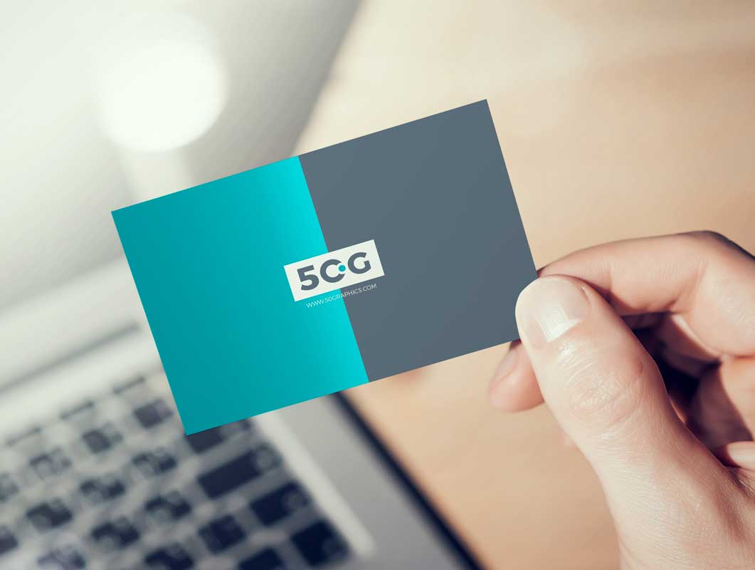 Hand-Held Corporate Business Card Front PSD Mockup