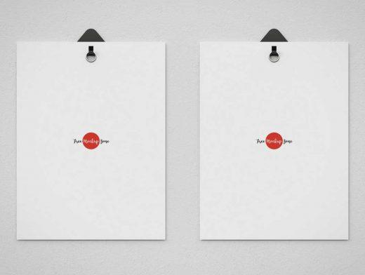 Heavy Stock Wall Posters & Grommet Hook PSD Mockup