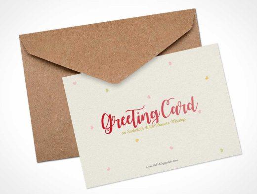 Holiday Greeting Card & Envelope PSD Mockup