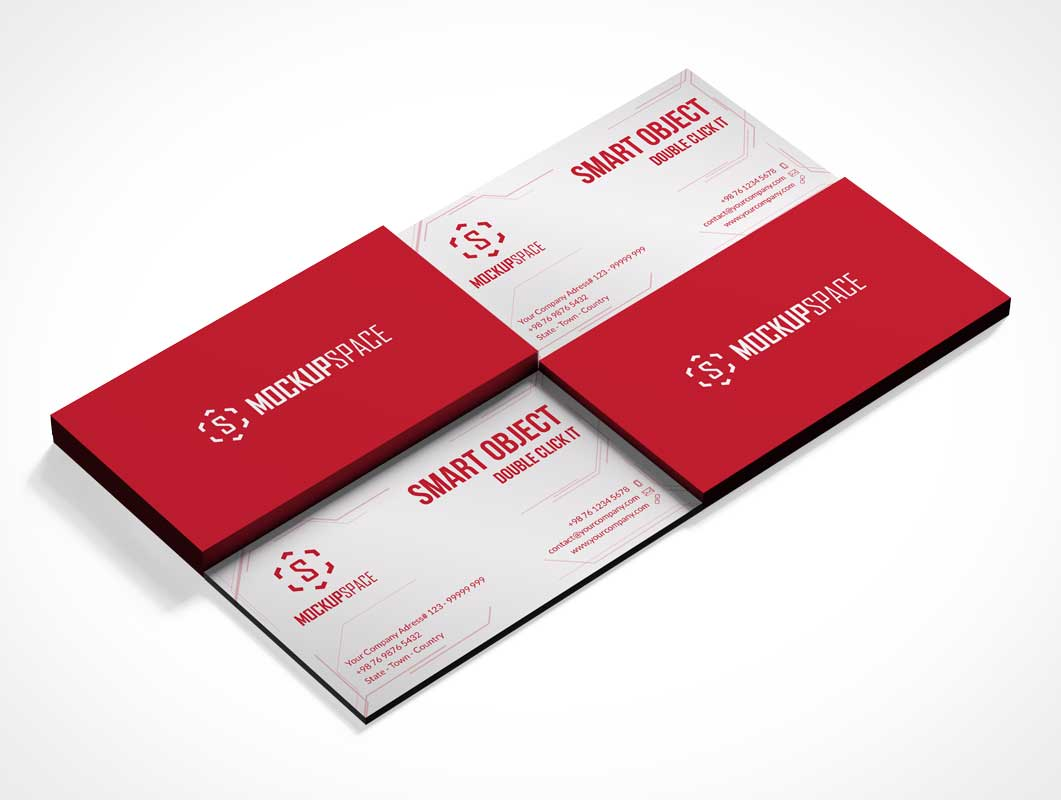 Isometric Business Card Piles Front & Back PSD Mockup