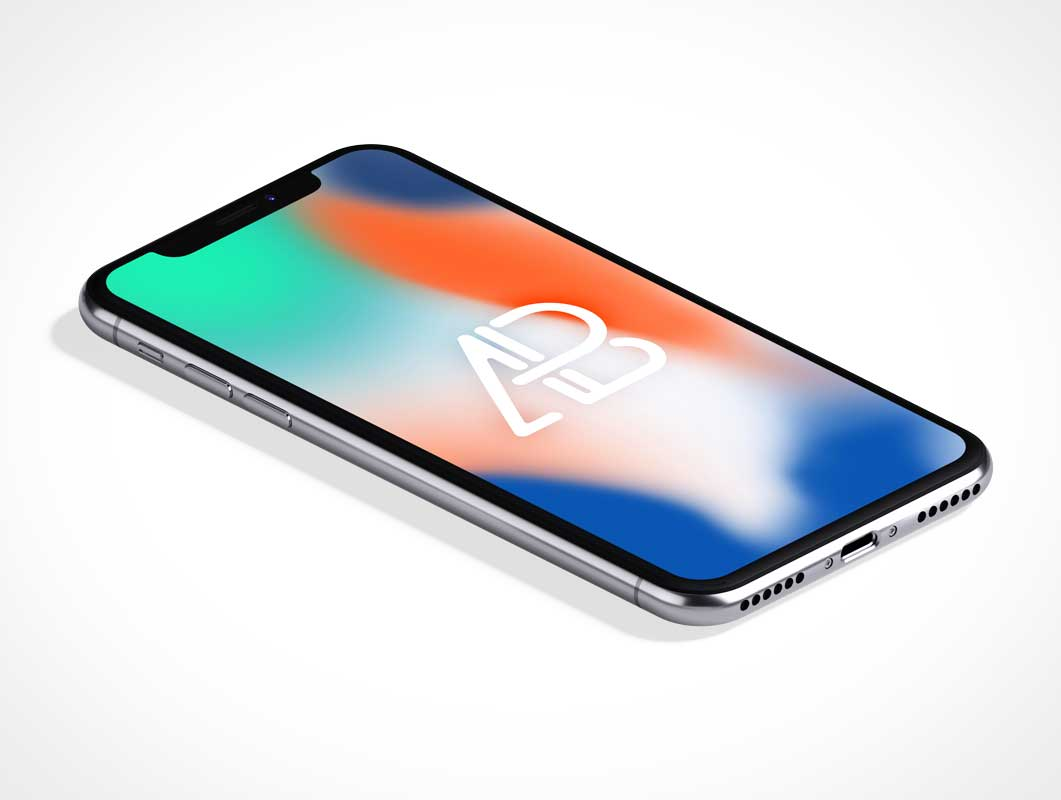 Isometric iPhone X Notch Screen PSD Mockup