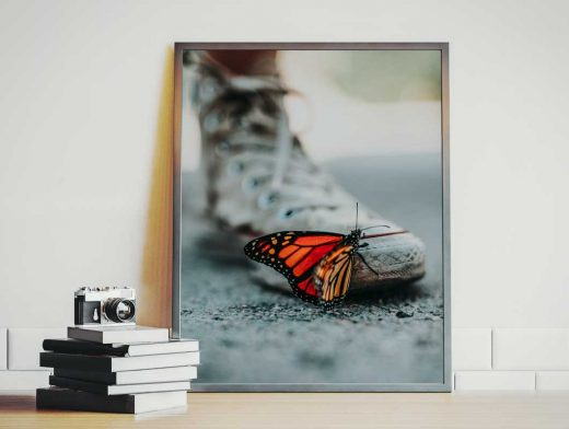 Large Portrait 4:3 Framed Photo PSD Mockup