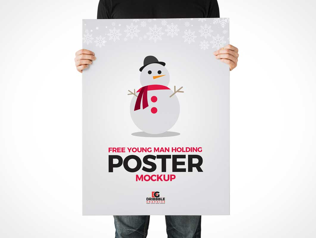 Man Displaying Portrait Poster PSD Mockup