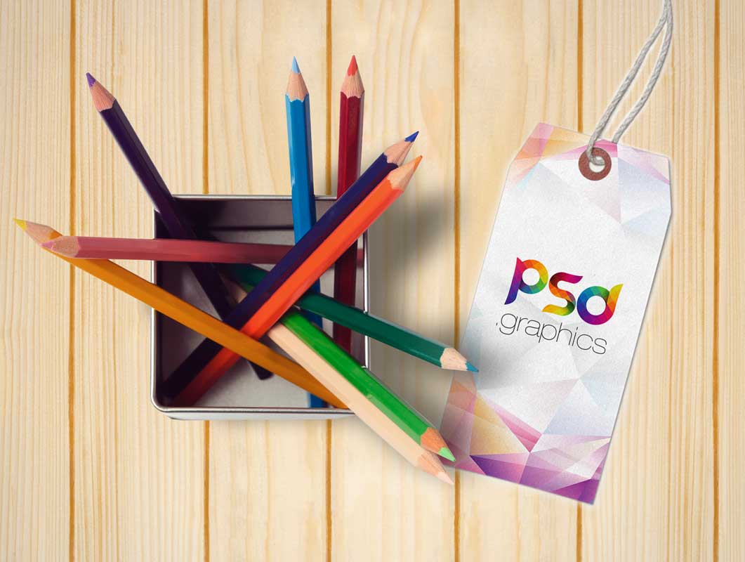 Metal Mesh Pencil Cup & Brand Tag PSD Mockup