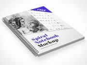 Metal Spiral Bound Notebook Cover & Inside Pages PSD Mockup