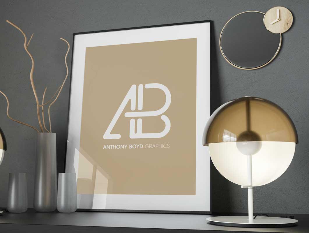 Modern Framed Poster & Glass Enclosure PSD Mockup