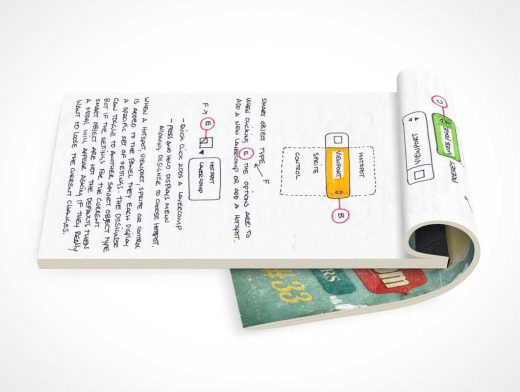 Notepad Sideview & Flipped Front Cover PSD Mockup