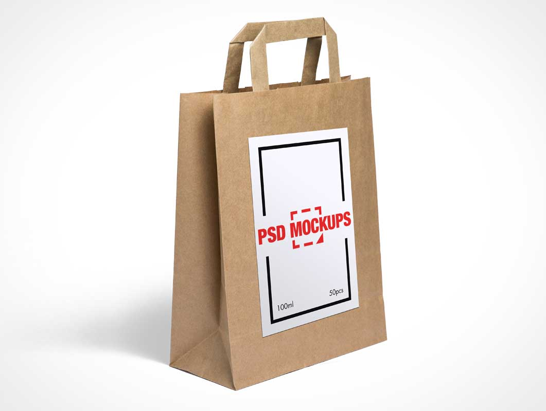 Paper Grocery Bag Front & Side PSD Mockup