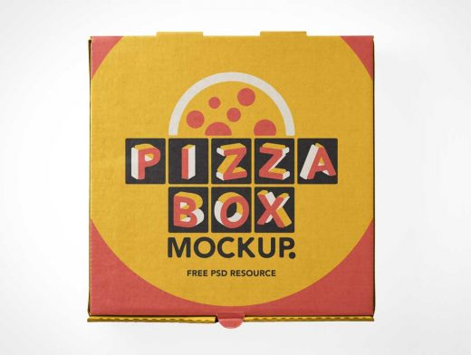 Pizza Delivery Box Top Cover PSD Mockup