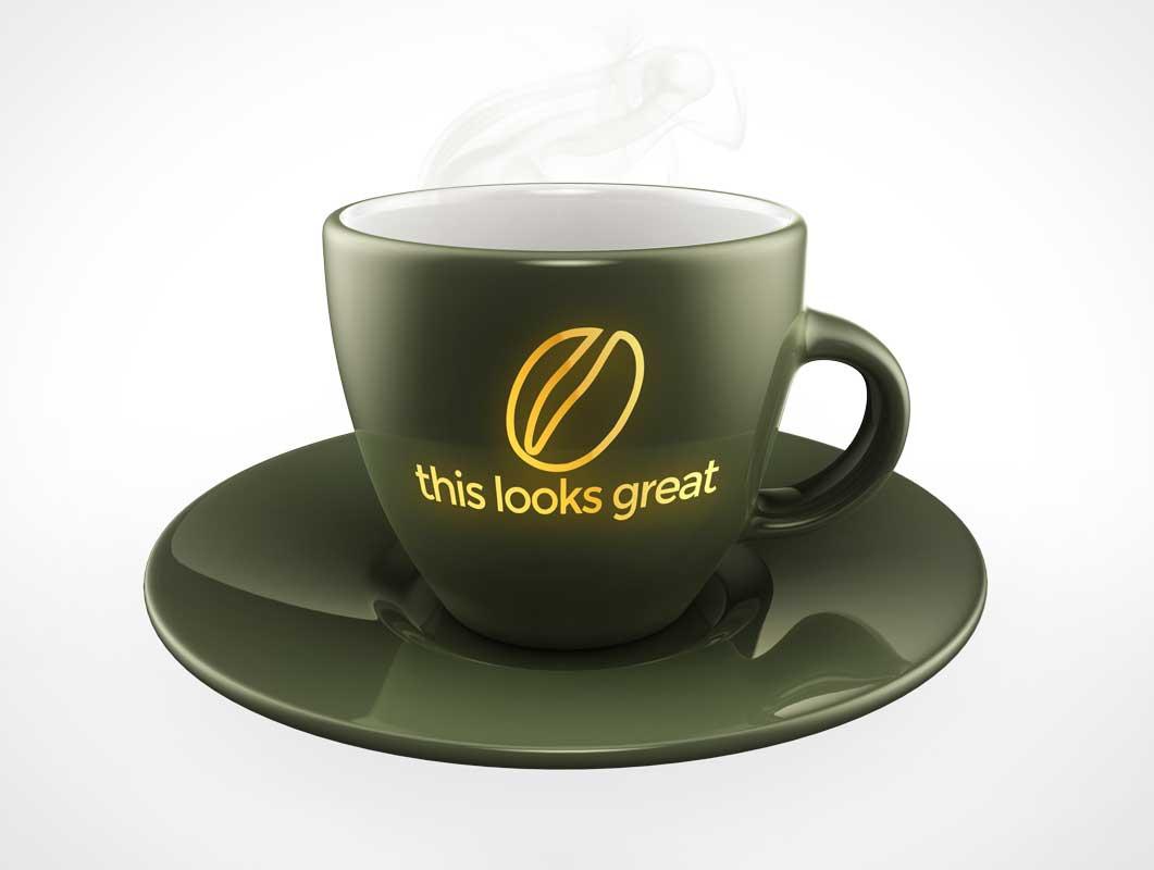 Porcelain 6oz Coffee Cup & Saucer PSD Mockup