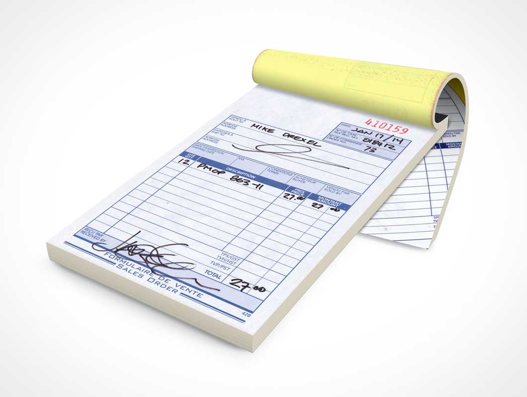 Sales Receipt Notepad Front Cover & Inside Page PSD Mockup