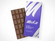 Scored Candy Chocolate Bar & Wrapper Packaging PSD Mockup