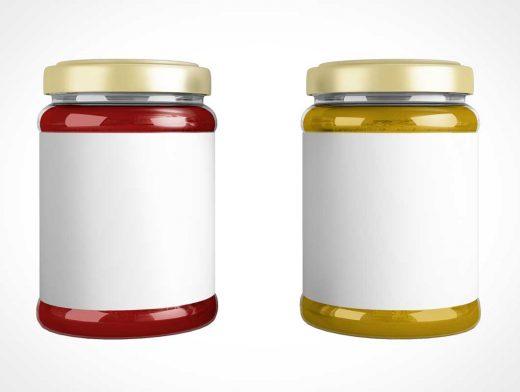 Sealed Lid Glass Jam Jar & Front Label PSD Mockup