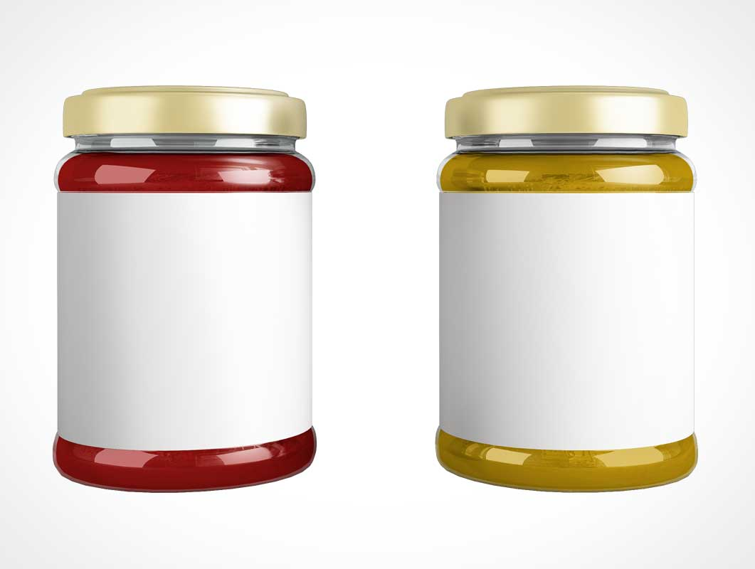 Sealed Lid Glass Jam Jar & Front Label PSD Mockup