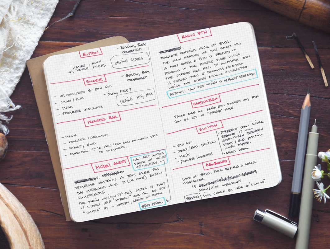 Sketchbook Notes Left & Right Pages PSD Mockup