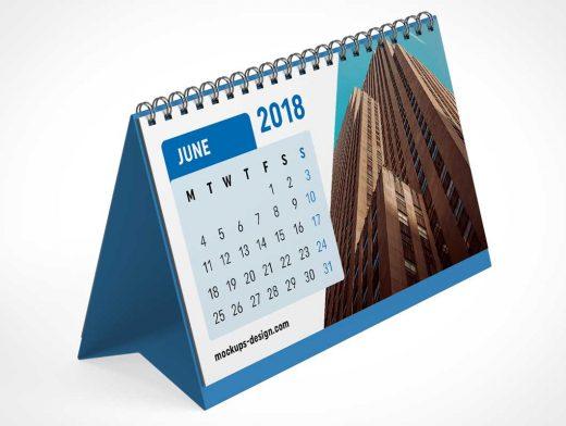 Spiral Ring A-Frame Desk Calendar PSD Mockup