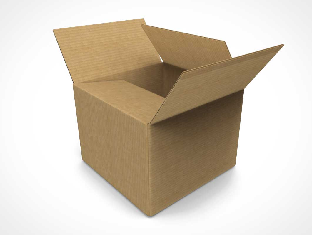Square Corrugated Open Shipping Box PSD Mockup