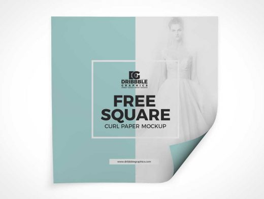 Square Paper Sheet & Page Curl PSD Mockup