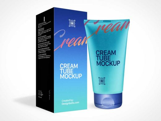 Squeeze Tube Cream Moisturizer, Snap Cap & Box Packaging PSD Mockup