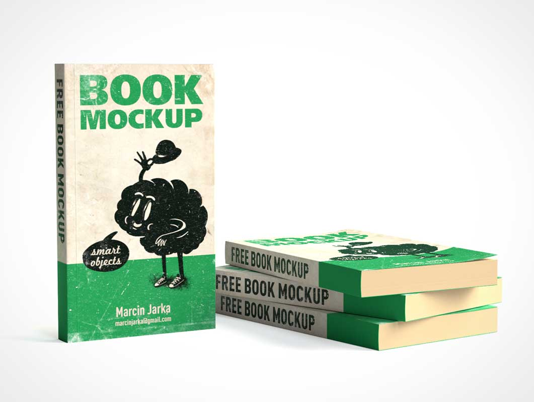 Stacked & Standing Paperback Softcover Books PSD Mockup