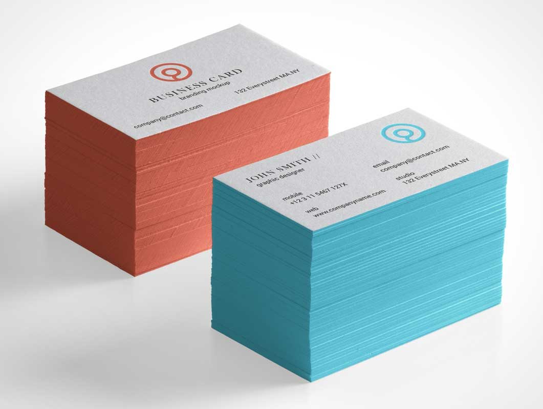 Tall Business Card Stacks PSD Mockup