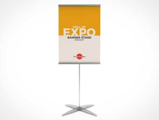 Trade Show Booth Rollup Banner Stand PSD Mockup