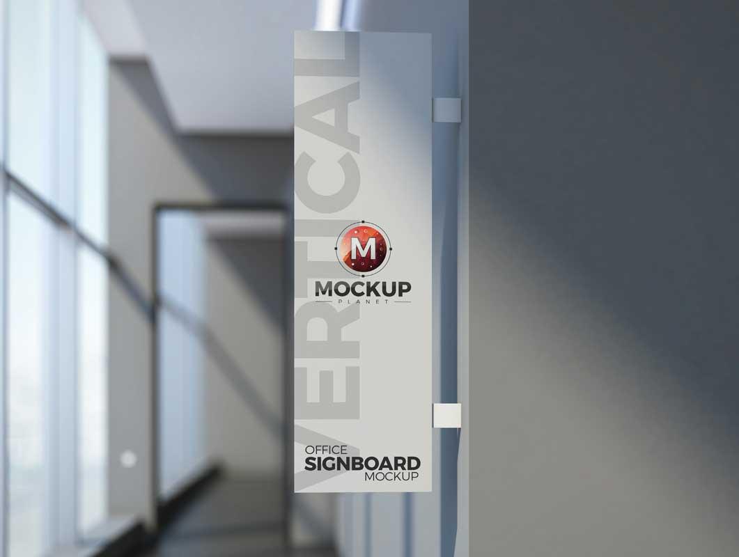 Vertical Display Advertising Sign Board PSD Mockup