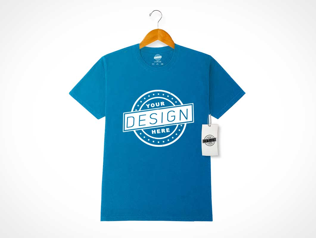 Wrinkle Free Round Neck T-Shirt Front On Clothes PSD Mockup